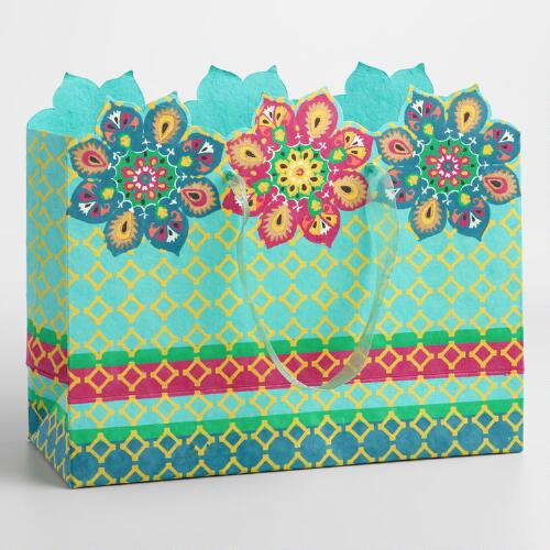 Large Suzani Flowers Handmade Gift Bag