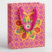 Large Pink Suzani Flower Handmade Gift Bag