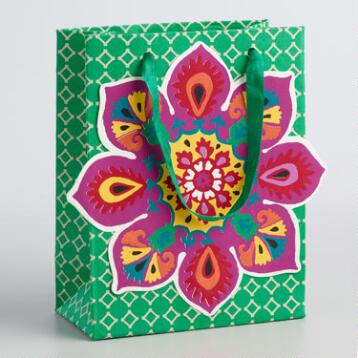 Small Green Suzani Flower Handmade Gift Bags Set of 2