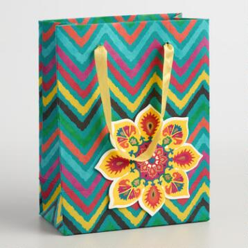 Small ZigZag Suzani Flower Handmade Gift Bags Set of 2