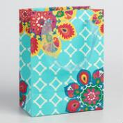 Small Blue Suzani Flower Gift Bags Set of 2