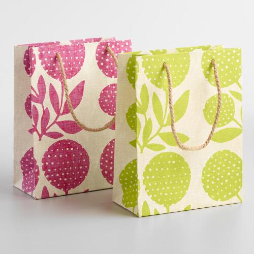 Small Green & Pink Stefi Handmade Gift Bags Set of 2