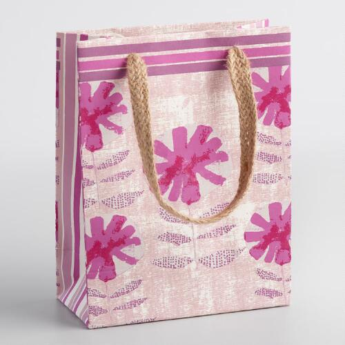 Small Pink Ida Floral Handmade Gift Bags Set of 2