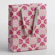 Small Pink Tile Handmade Gift Bags Set of 2
