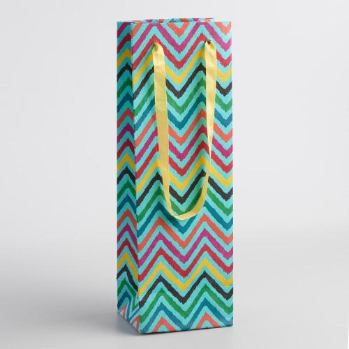 Pastel Zig Zag Wine Bags Set of 2