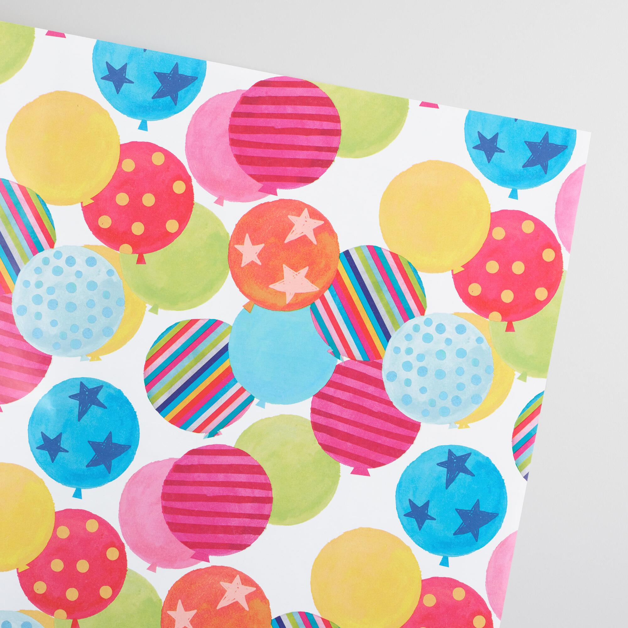 Birthday Balloons Kraft Wrapping Paper Roll | World Market