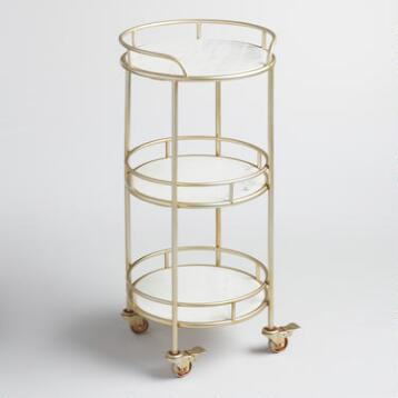 3 Tier Marble Bar Cart