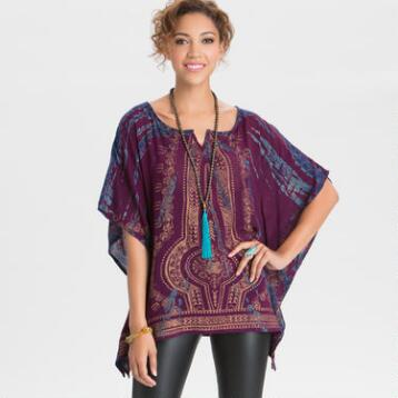 Burgundy and Blue Asiya Kaftan