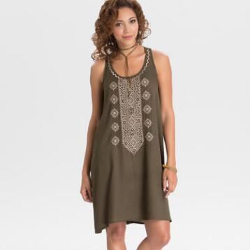 Olive Embroidered Carmen Tunic Dress
