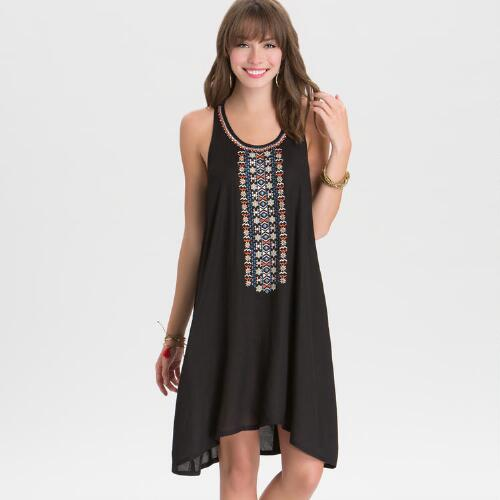 Black Embroidered Carmen Tunic Dress