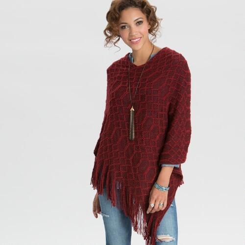 Red and Burgundy Poncho