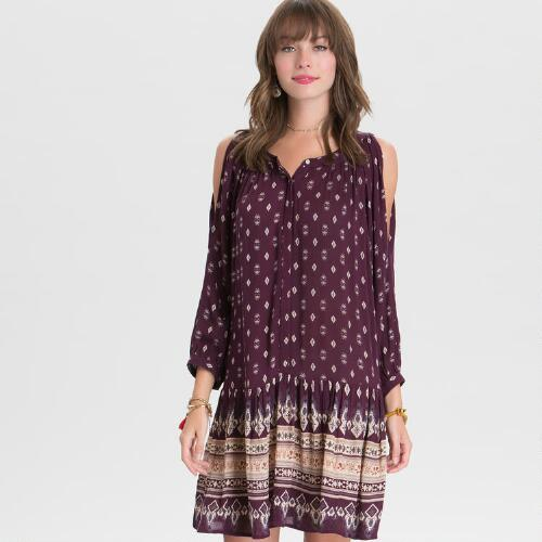 Burgundy Becca Cold Shoulder Dress