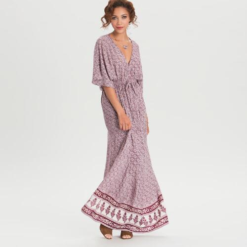Long Burgundy Mira Kaftan