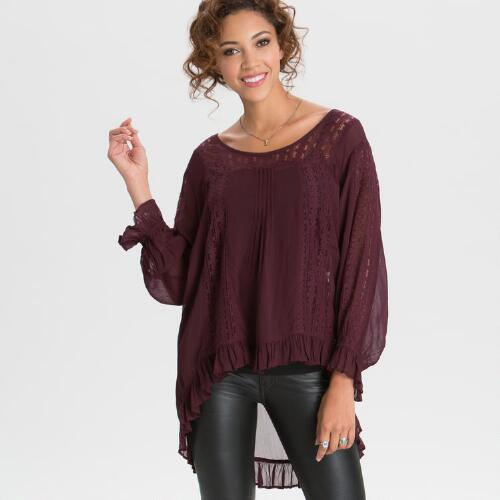 Wine Lace Isabella Blouse