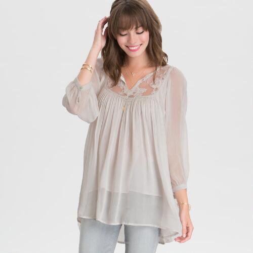 Gray Lace Hayden Blouse