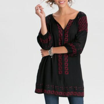 Black and Burgundy Embroidered Selena Tunic