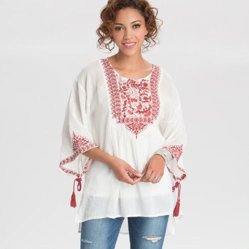 Ivory and Red Embroidered Jade Top
