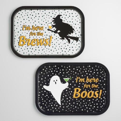 Here For The Boos and Brews Serving Trays Set of 2