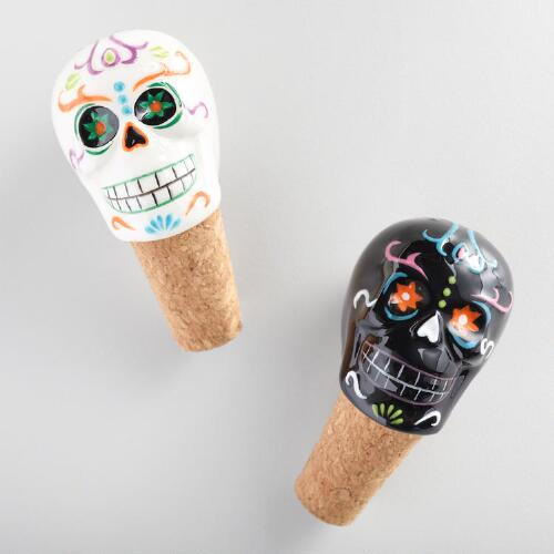 Dia de los Muertos Ceramic Bottle Stoppers Set of 2