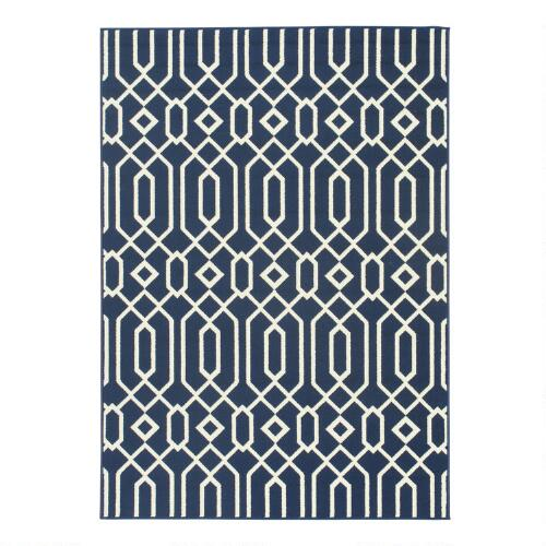 Navy Blue Cortes Indoor Outdoor Area Rug
