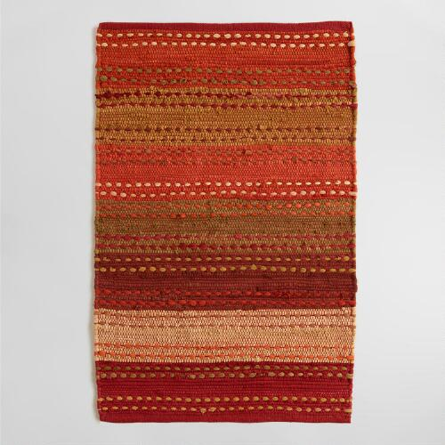 Striped Pebble Persimmon Chindi Area Rug