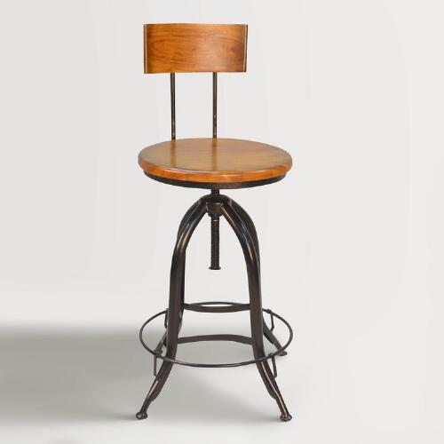 Wood and Metal Adjustable Stool with Back