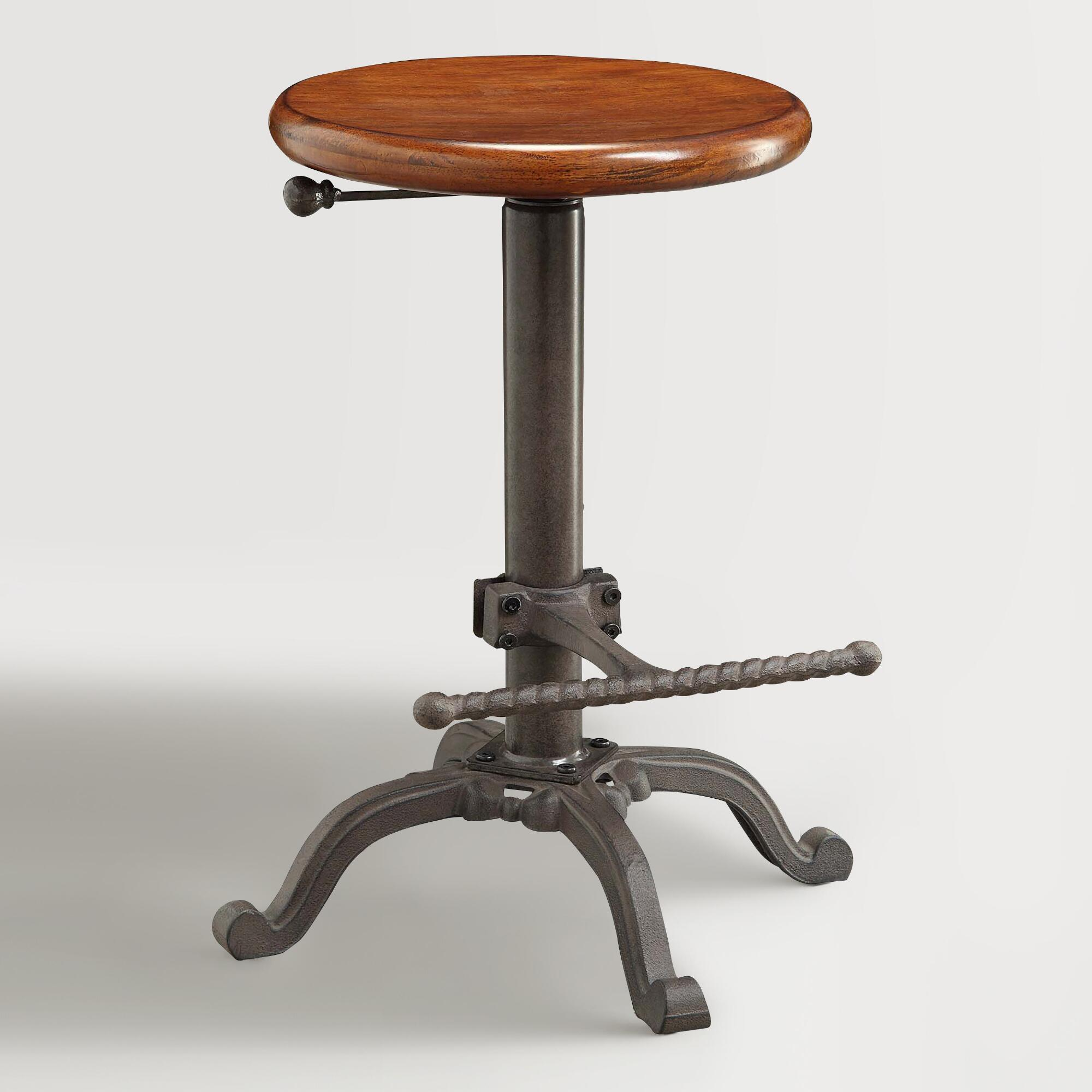 New Copper Metal Wood Counter Stool Kitchen Dining Bar: Wood And Metal Ezra Adjustable Stool