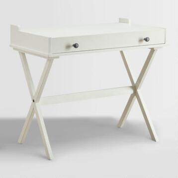 Antique White Wood Dayana Flip Top Desk