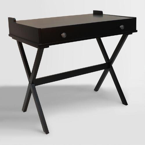 Antique Black Wood Dayana Flip Top Desk