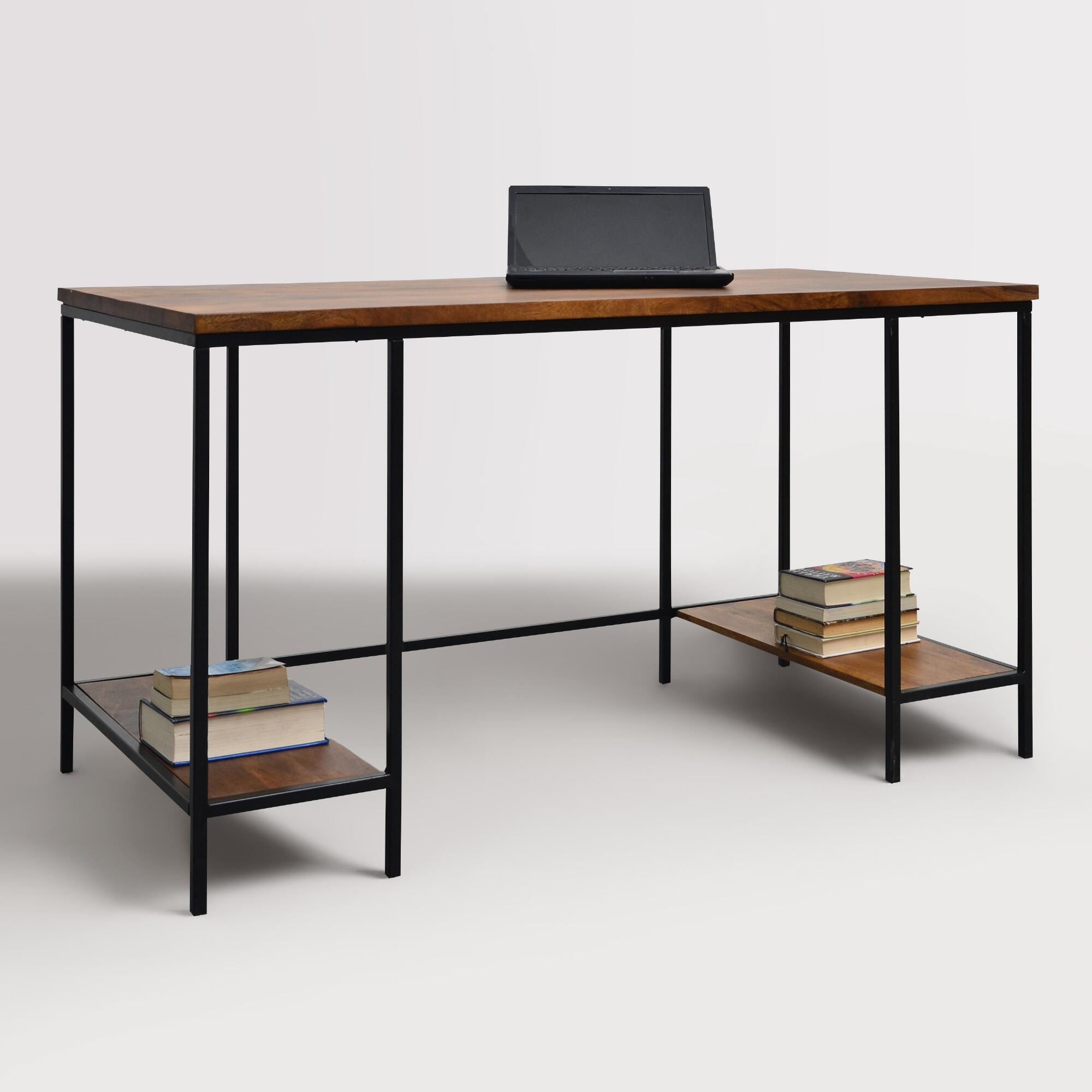 Wood and metal williard extra long desk world market for Metal desk with wood top
