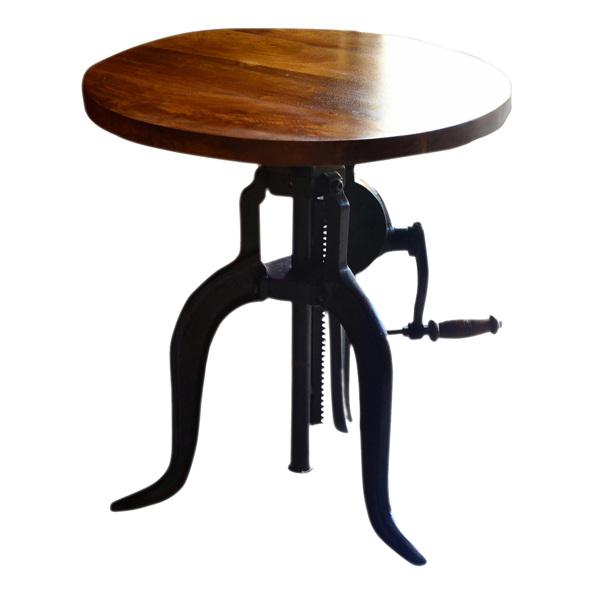 Wood And Metal Ornella Adjustable Accent Table
