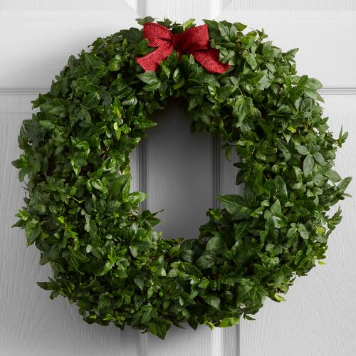 Live Ivy Wreath with Burlap Ribbon