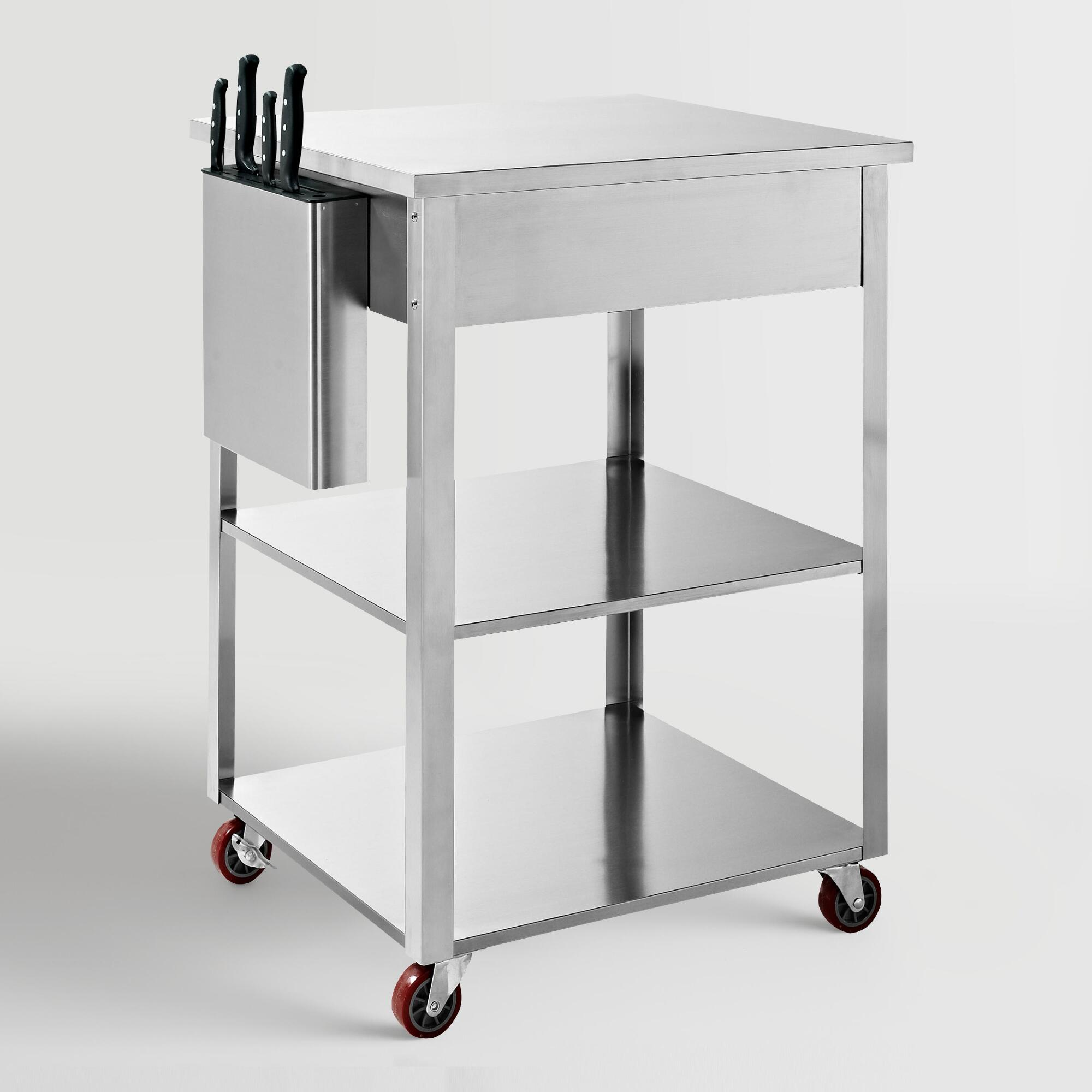 Stainless Kitchen Cart: Stainless Steel Daelyn Kitchen Cart