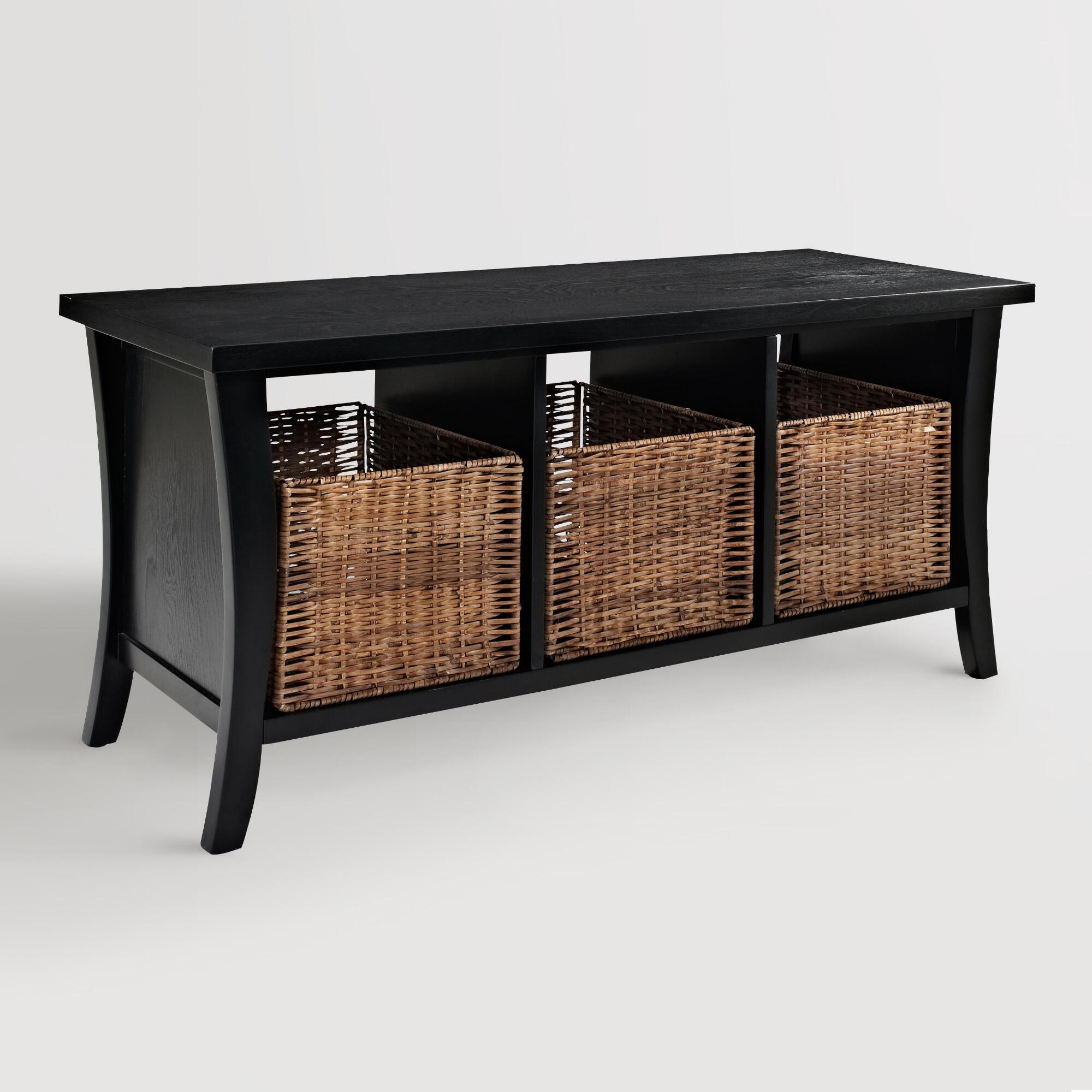 Black wood cassia entryway storage bench with baskets world market Bench with baskets