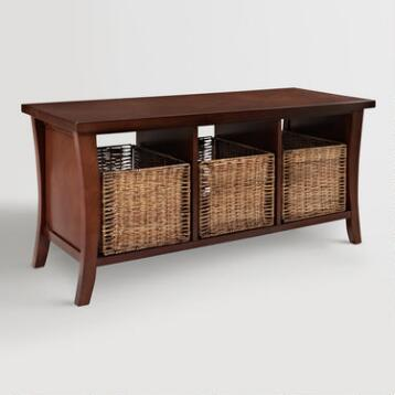 Mahogany Wood Cassia Entryway Storage Bench with Baskets