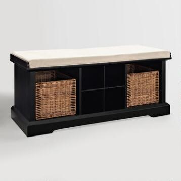 Black Wood Emlyn Entryway Storage Bench