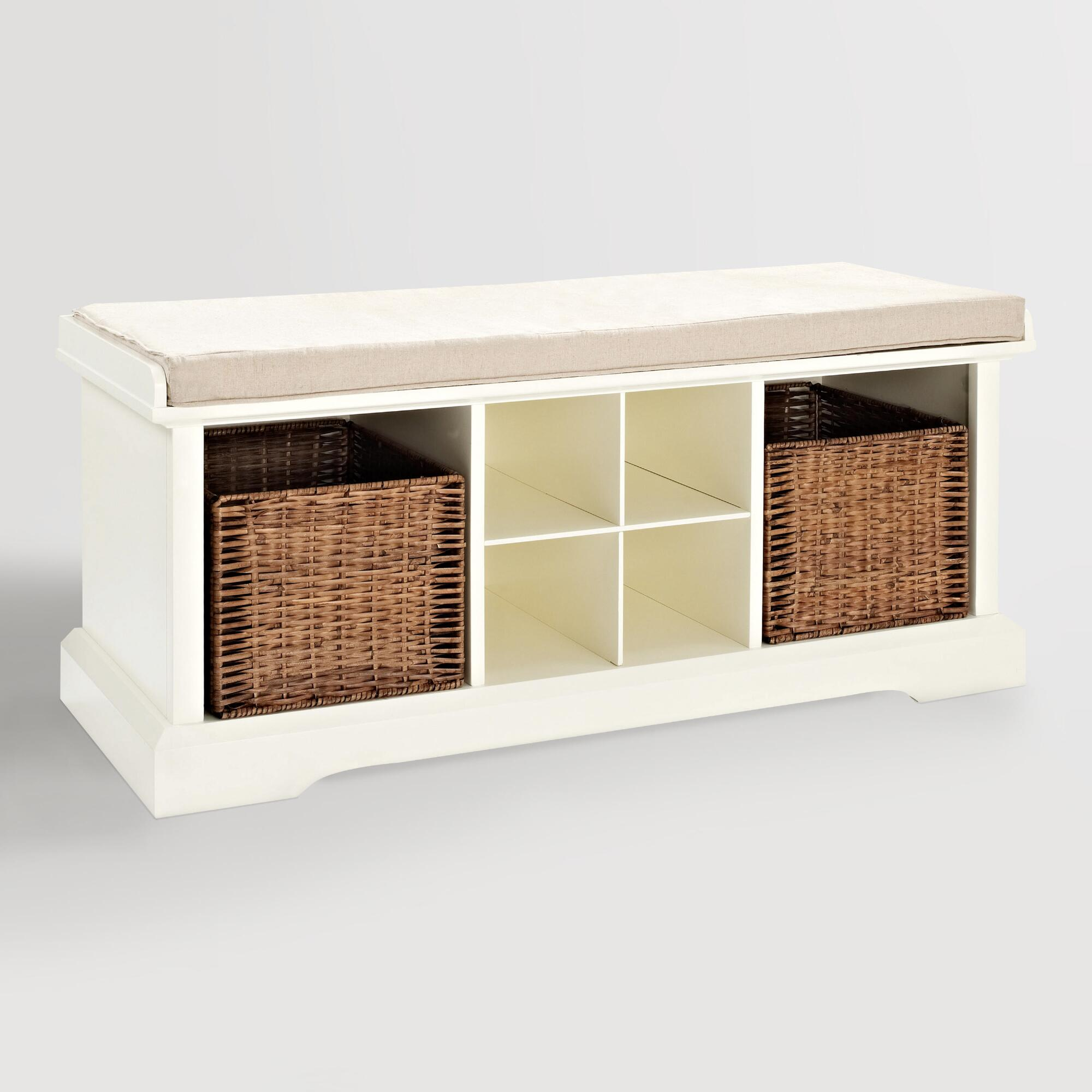 White Wood Emlyn Entryway Storage Bench World Market