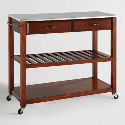 Cherry Sondra Kitchen Cart with Stainless Steel Top