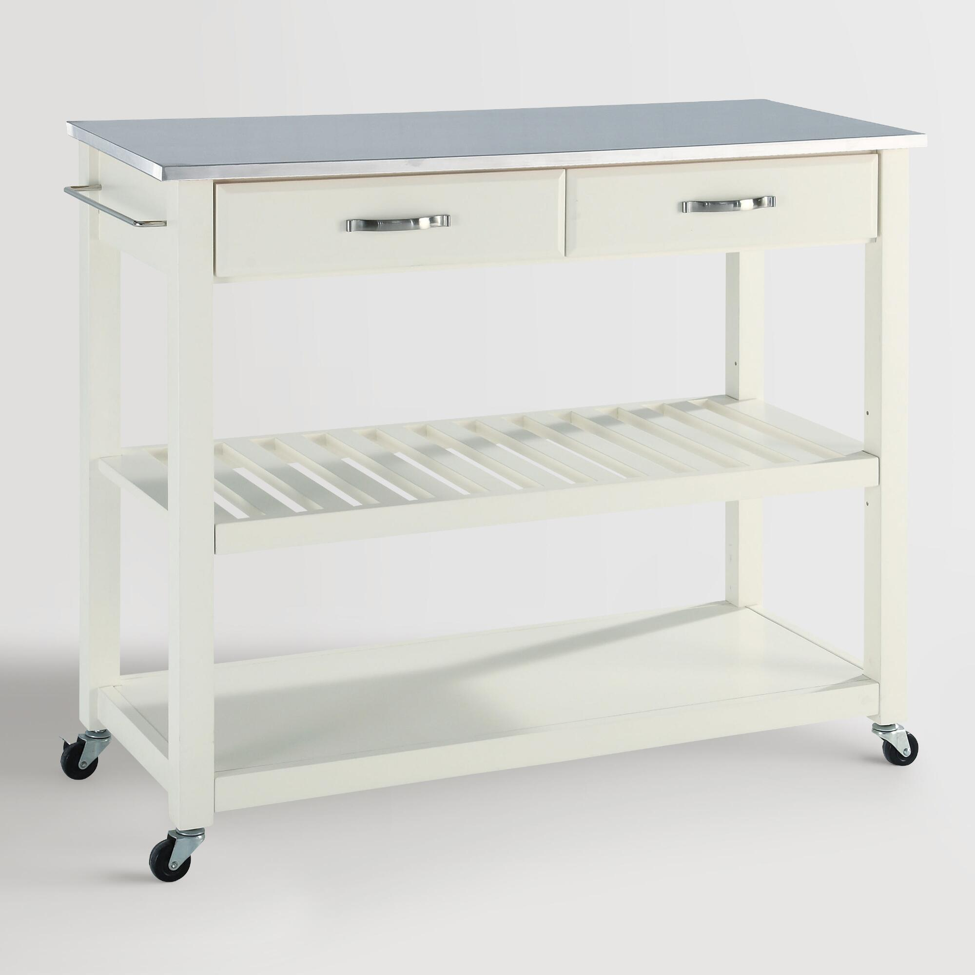 White Sondra Kitchen Cart With Stainless Steel Top World Market