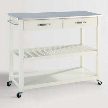 White Sondra Kitchen Cart with Stainless Steel Top