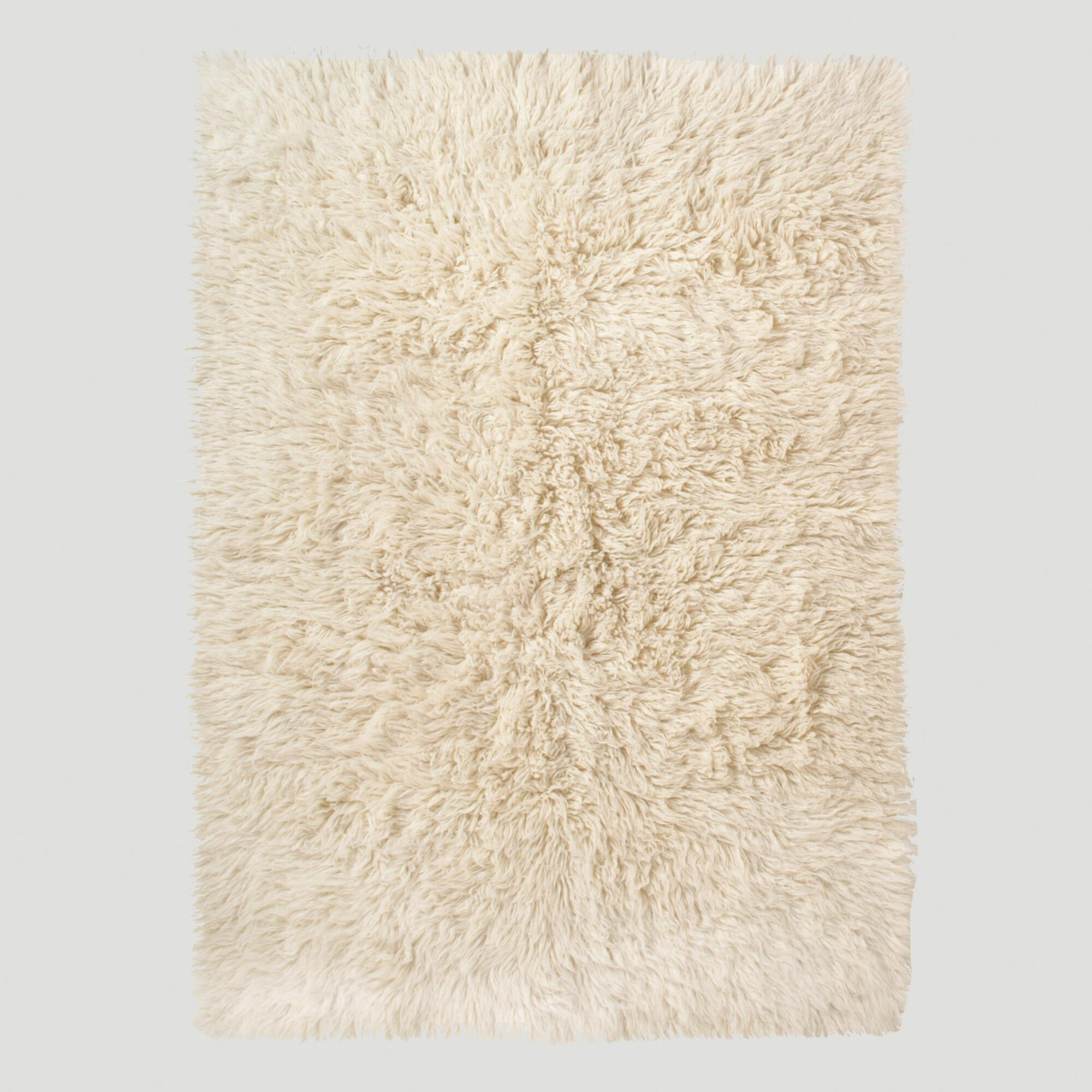 Ivory Flokati Wool Rug World Market