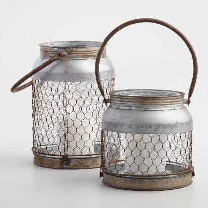 Galvanized Wire  and Glass Lantern