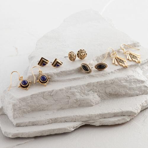 Gold Drop, Fringe and Stud Earrings Set of 5