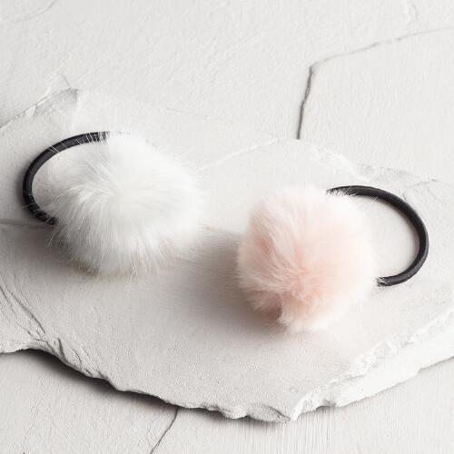 Pink and Ivory Pom Hair Ties Set of 2
