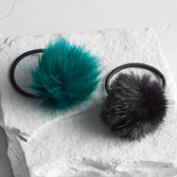 Teal and Black Pom Hair Ties Set of 2