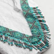 Turquoise and Black Fringe Statement Necklace