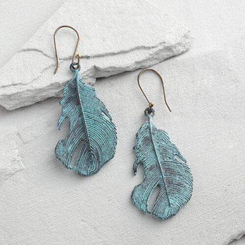 Antique Patina Feather Earrings