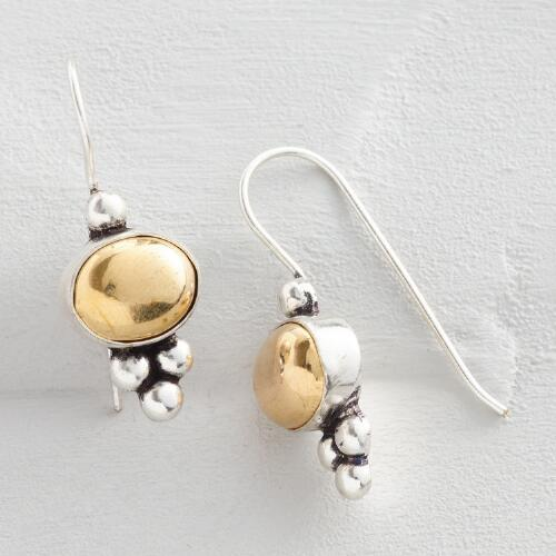 Gold and Silver Oval Drop Earrings