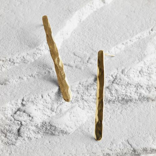Gold Linear Drop Stud Earrings