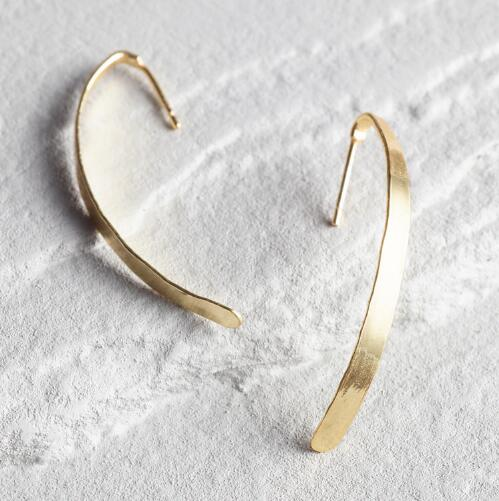 Gold Curved Linear Earrings